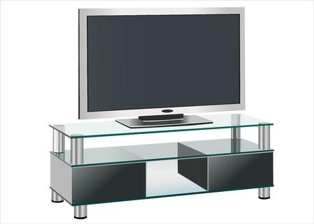 Black TV stands on a glass shelf