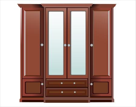 ladenkast: houten dressoir klassieke over witte achtergrond Stock Illustratie