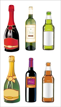 Set of different drinks and bottles on the wall Stock Vector - 14296866
