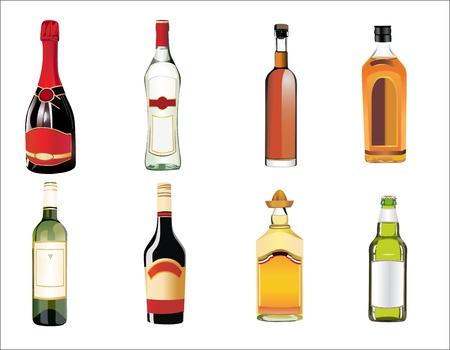 botella de whisky: Conjunto de diferentes bebidas y botellas en la pared Vectores