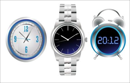 Clock set. Office, digital, timer, stopwatch, alarm. Vector