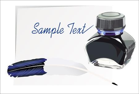 Feather pen ink calligraphic Stock Vector - 14296813