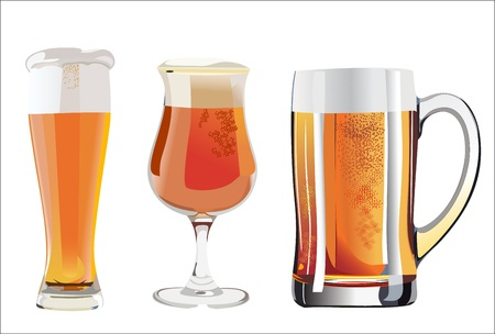 stilllife: Still-life with beer glasses. On a white background.
