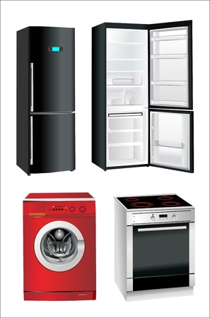 picture of household appliances on a white background Illustration
