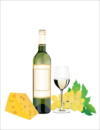 Wine, cheese and grapes. Over white Vector