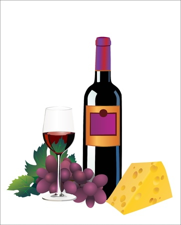 wine and cheese: Red wine, cheese and grapes. Isolated on white