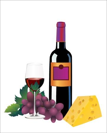 casse-cro�te: Vin rouge, le fromage et les raisins. Isol� sur fond blanc Illustration