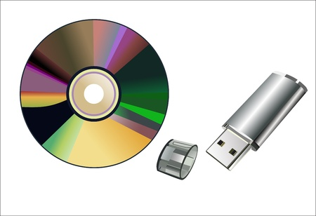 flash memory: flash memory and computer disk isolated on a white background