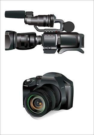 digital SLR camera isolated on white Illustration