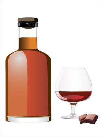 bourbon whisky: Glass of rum and bottle