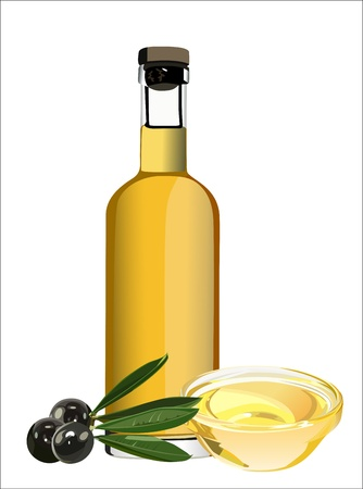 olive oil bottle: An olive oil pourer and some olives on the branch isolated on a white background. Illustration