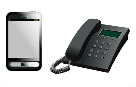 telephone sets isolated on white background Illustration