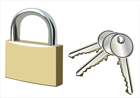 padlock isolated in white background Stock Vector - 14296756