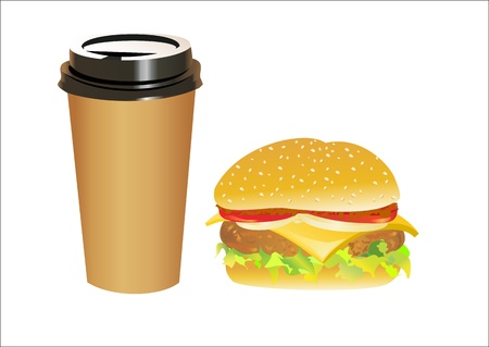 Big and tasty hamburger and with cola isolated on white Stock Vector - 14296831