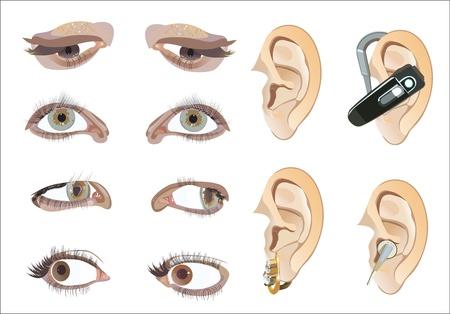 oeil dessin: yeux et les oreilles