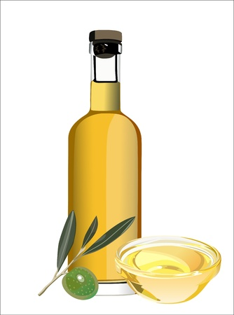 oilcan: An olive oil pourer and some olives on the branch isolated on a white background. Illustration