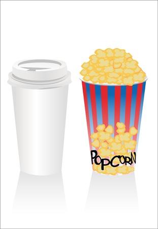 popconr and soda Vector