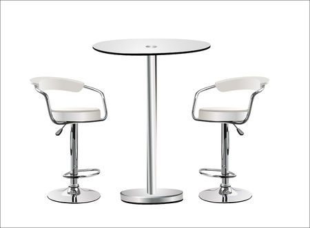 counter service: High Glass Top Table w Chairs on white background. Illustration
