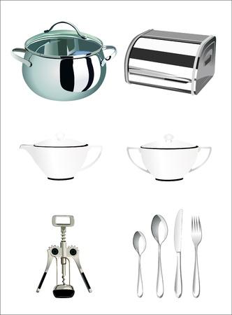 illustration of icons on kitchen appliances Vector