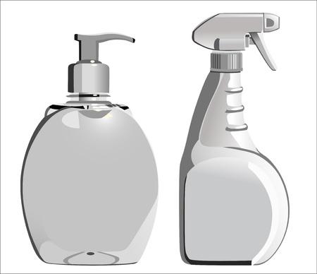 disinfectant: bottles of liquid soap isolated on white Illustration