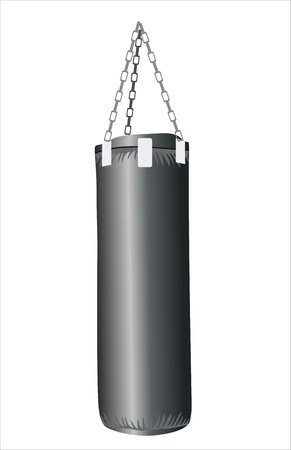 punching bag under the light background isolated Vector
