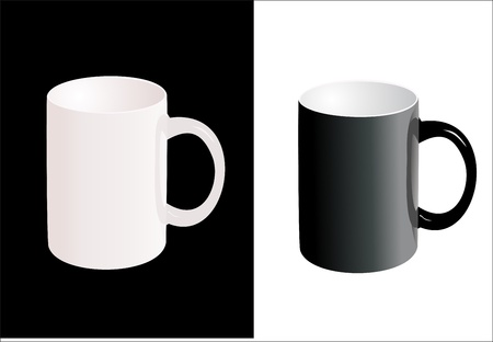 Dark and light ceramic cup with handle isolated on white background. Stock Vector - 14296740