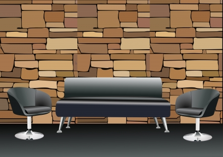 two chairs: sofa and two chairs Illustration
