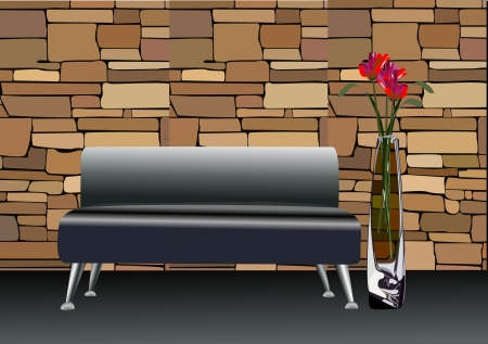 stylish black leather sofa with decorative vases near by Vector