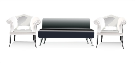 sofa and two chairs Vector
