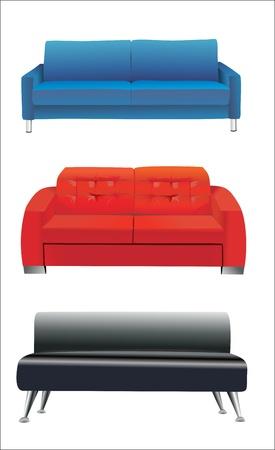 sofa furniture isolated on white background Illustration