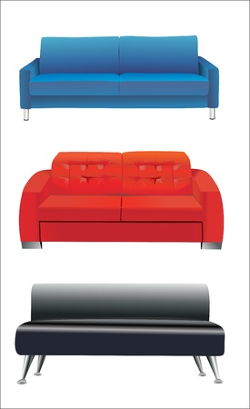 sofa: sofa furniture isolated on white background Illustration