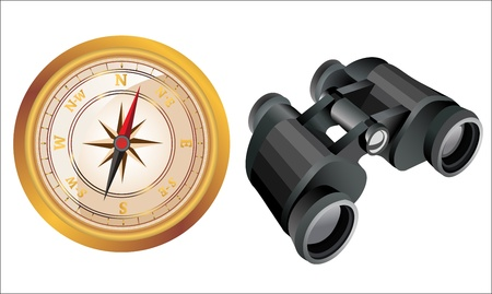Compass and binoculars on white. concept of search Stock Vector - 14328214