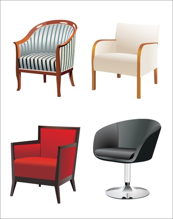 large group of objects: Chair Set Illustration