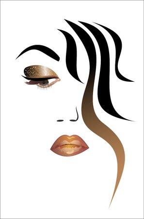 lineas decorativas: cara de mujer hermosa