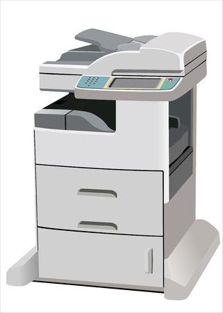 copier: Professionele multifunctionele printer op wit wordt geïsoleerd