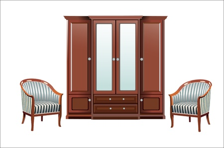 cupboard and two chairs Vector