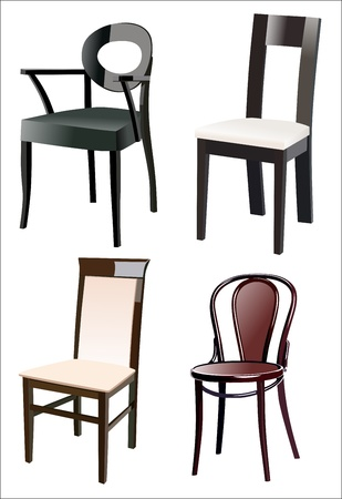 small group of object: Chair Set Illustration