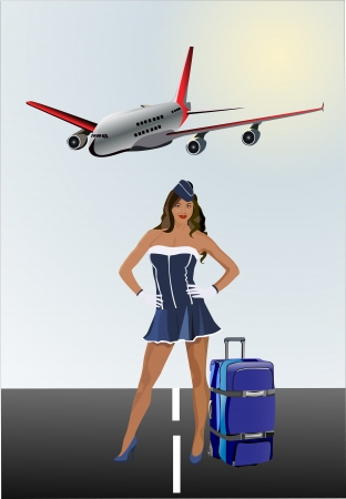 Business traveler with luggage in airport Vector