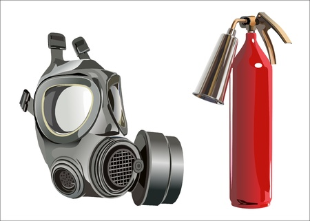 fire extinguisher and a gas mask