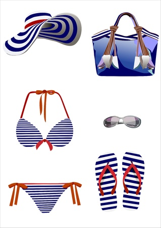 swimwear: Summer vacation, design elements Illustration