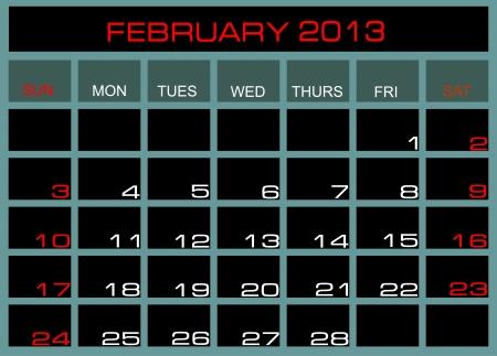 calendar February 2013 Stock Vector - 14328044