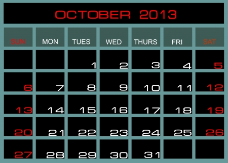 kalender oktober: Vector kalender oktober 2013 Stock Illustratie