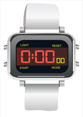 electronic wristwatch isolated on white Vector