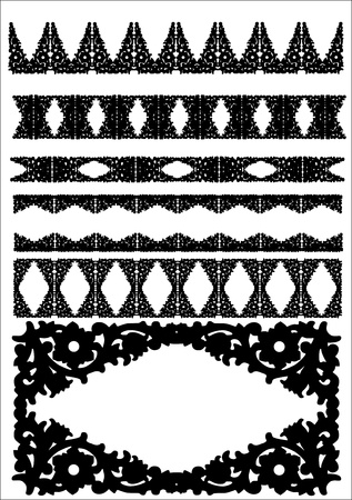 set of silhouettes of iron fences  Vector