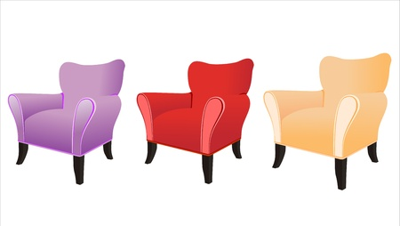red couch: divano isolato su sfondo bianco Vettoriali