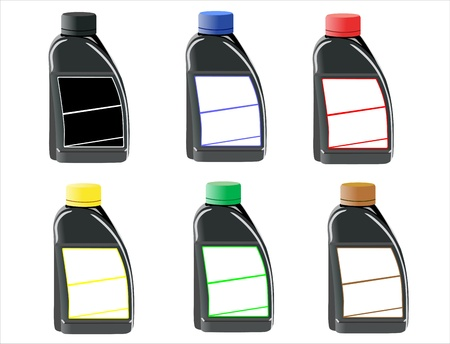 bottles with the basic printing Vector