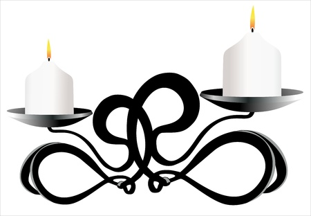 Old-fashioned elegant candlestick isolated on white background Illustration