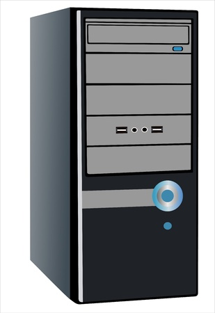 pc case: central processing unit under the white background Illustration