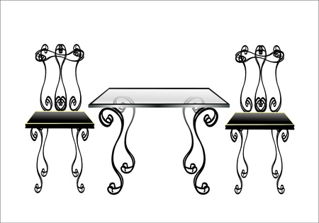distal: Table w Chairs on white background.