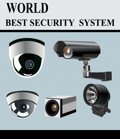 security monitor: Video Camera Security System isolated